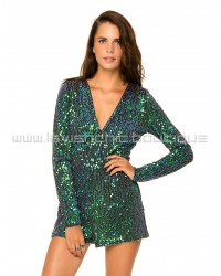 Green Emerald Long Sleeve Sequin Playsuit