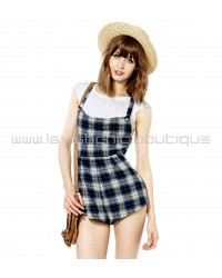 Vintage Checkered Dungaree Playsuit