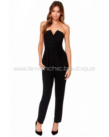 City Stroll Strapless Black Jumpsuit