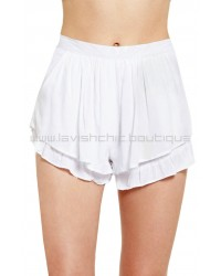 Little Ruffle Short White
