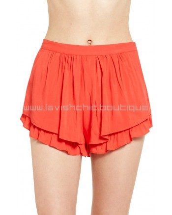 Little Ruffle Short Vermilion