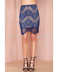Midnight Lace Blue Pencil Skirt