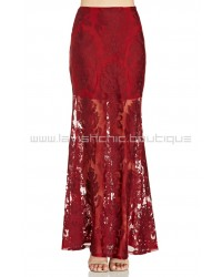Embroidered Ethereal Burgundy Maxi Skirt