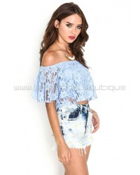 Light Blue Off The Shoulder Floral Lace Crop Top