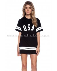 Black USA Stripe Tee