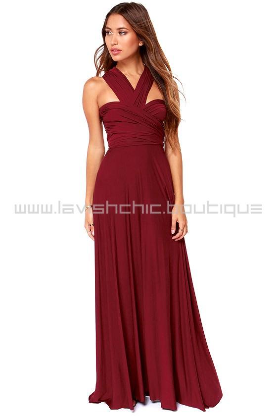 Tricks Of The Trade Burgundy Maxi Dress Convertible Dress
