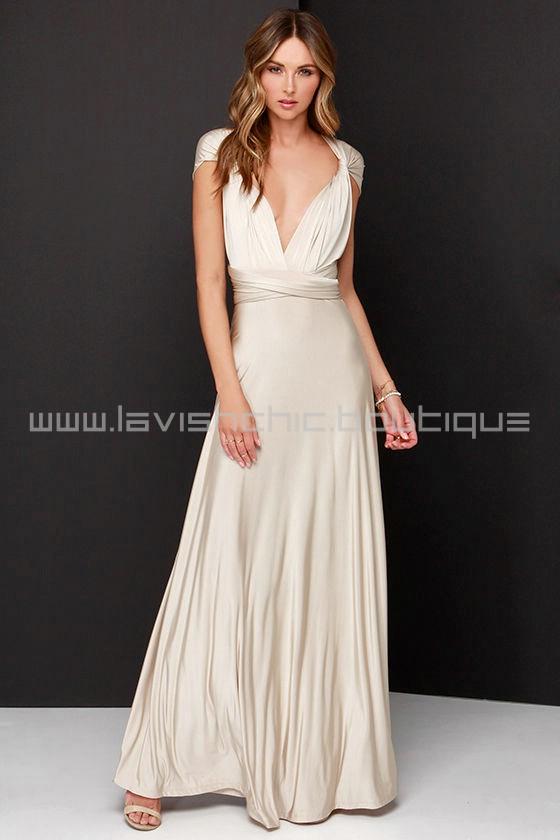 Always Stunning Convertible Beige Maxi Dress (Convertible Dress)