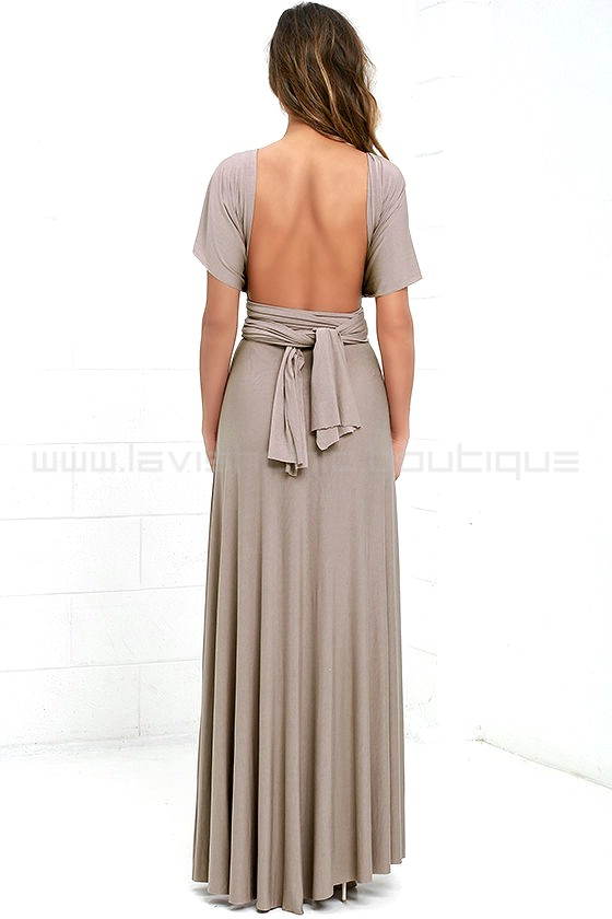 Tricks Of The Trade Taupe Maxi Dress Convertible Dress