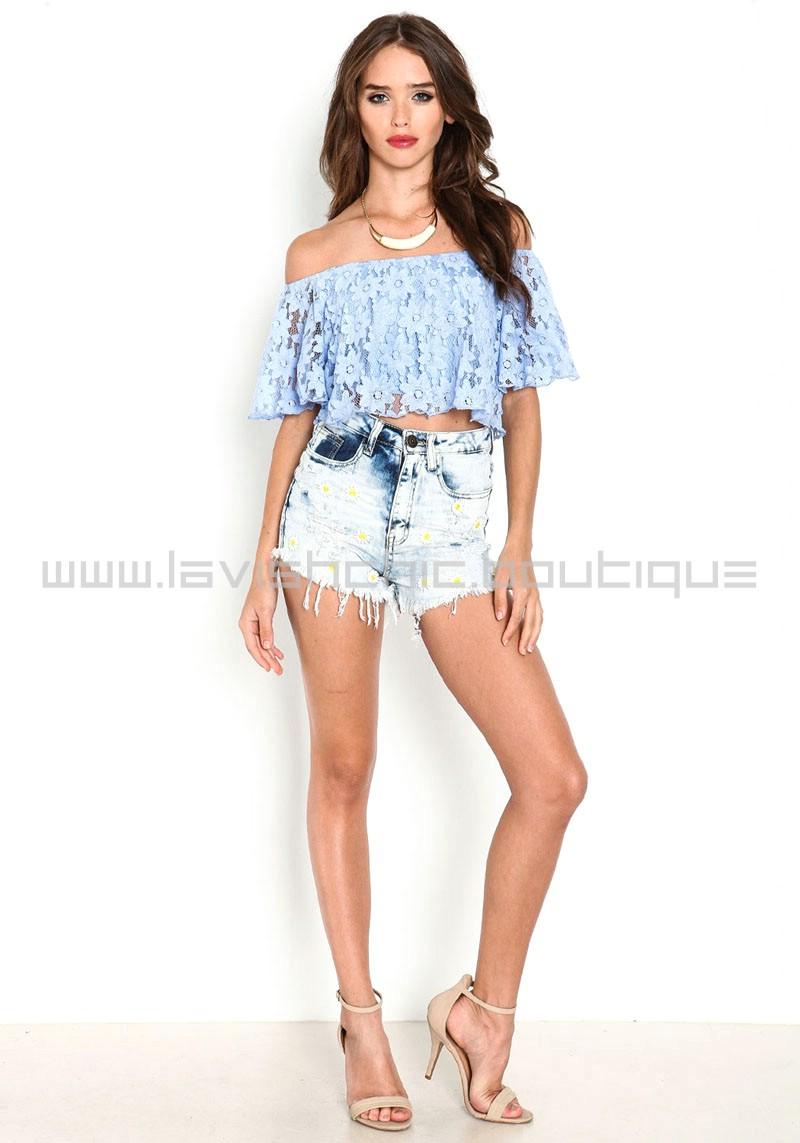 Blue Off The Shoulder Floral Lace Crop Top